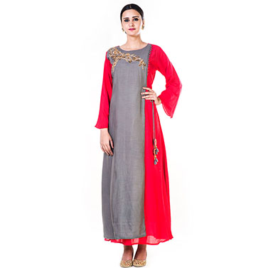 Hand Emroidered Grey & Red Gown