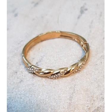 Braided Crystal Gold Slim Cuff