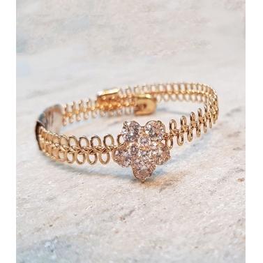 Orchid Crystal & Metal Gold Bracelet