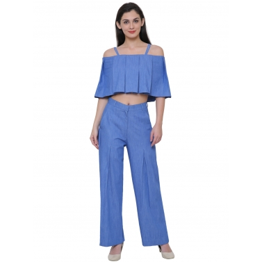 Denim box pleat top & Pleated pant set