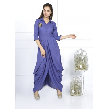 Shirt Style Dress Center Button And Side Cowl