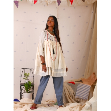 White Muslin Top with two layers