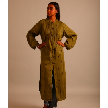green cotton tunic with pintucks