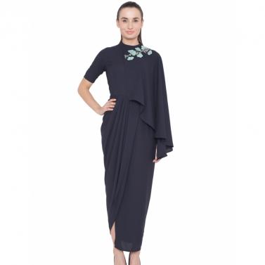 designer-womens-wear/navy-floral-embroidered-drape-dress