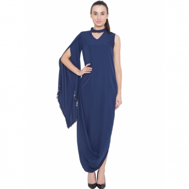 Mid Night Blue Cowl Drape Tunic