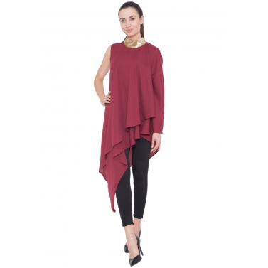 Maroon Neck Embroidered Flare Tunic