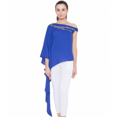 Blue Neck Embroidered Drape Top