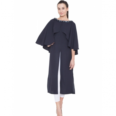 Navy Neck Embroidered Cape Tunic