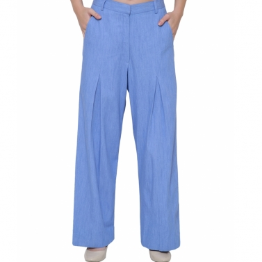 Light denim front pleat pant