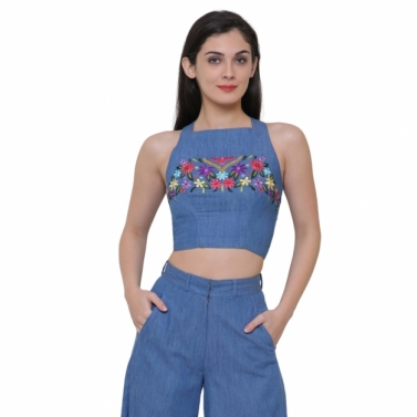 Blue denim embroidered top