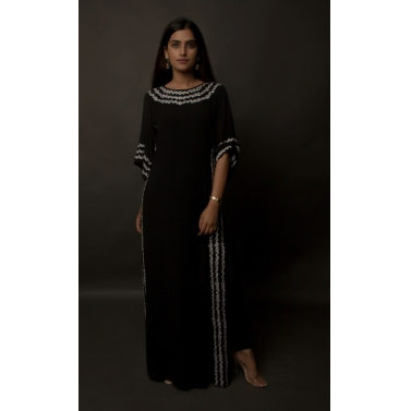designer-womens-wear/black-embroidered-silk-georgette-kaftan
