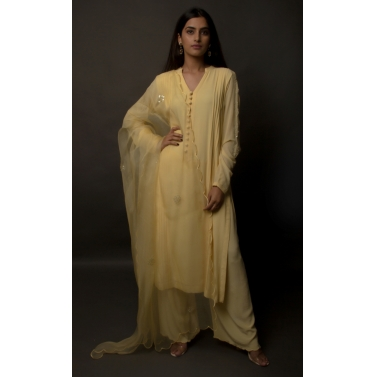 Butter Yellow Silk Georgette Pin-Tucked Suit Set