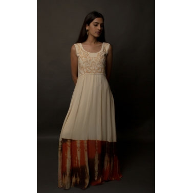 Ivory Tie And Silk Georgette Panelled Dress