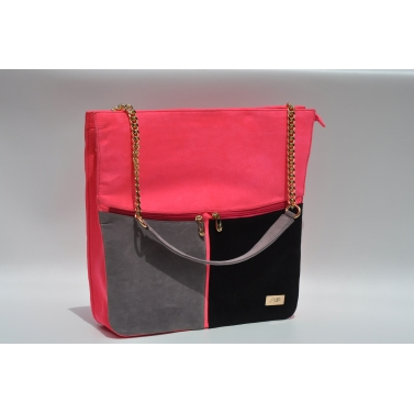3 colored tote pink