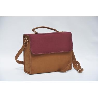 beige and maroon box sling