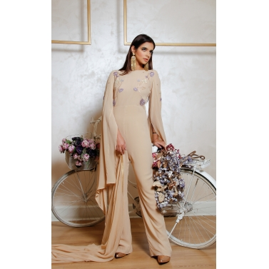 Earthy skin silk georgette jumpsuit