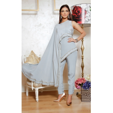 Steel grey silk crepesequinned embellished one side cape