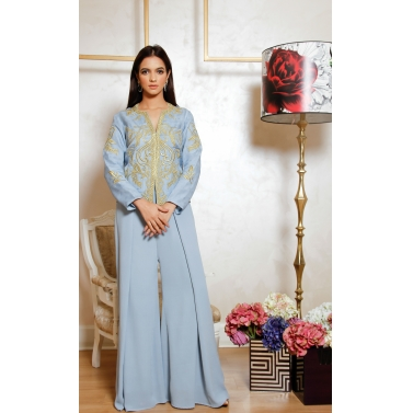 Steel grey silk organza gold embroidered jacket with silk georgette pants