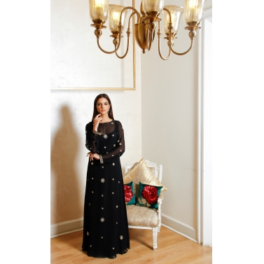Black gold silk georgette embellished gown