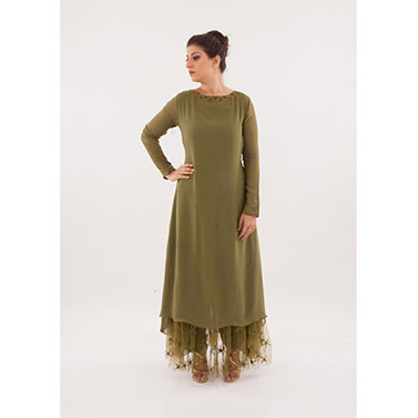 Long Kurta , Embroidered Net With Pants