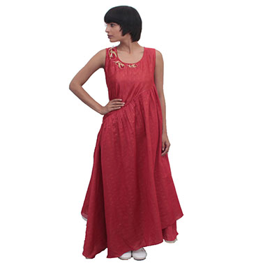 Leaf Embroidered Red Gathered Dress
