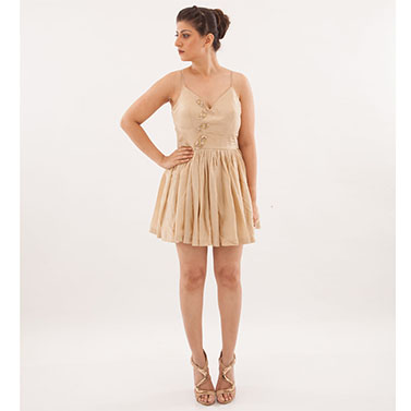 Short Beige Pastel Dress