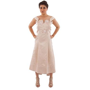 Off Shoulder Short Long Hem, Embroidered Satin Gown