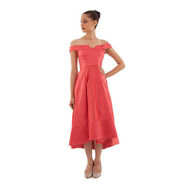 Short-Long Hem, Embroidered Satin Gown