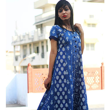 Indigo Panelled Anarkali