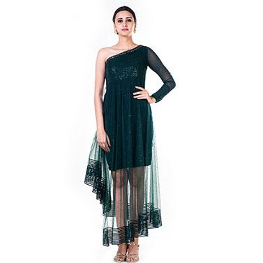 Single Shoulder Bottle Green Sequin Layered Dress