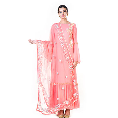 Hand Embroidered Light Pink Double Layer Anarkali Gown with a Floral work Embroidered Dupatta