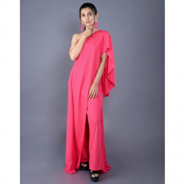 Pink off shoulder drape gown with pants