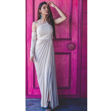 Cream off shoulder drape gown with separate sleeve
