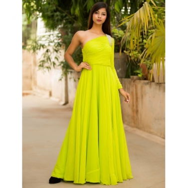 Lime Green evening gown with Crystal embellishment on shoulder and sleeves