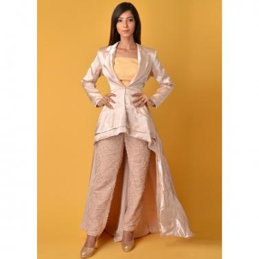 Gaji silk Beige blazer dress with pants
