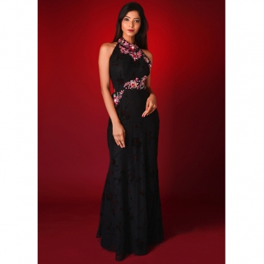 Black Braso Gown with Floral handwork and cut out on waist