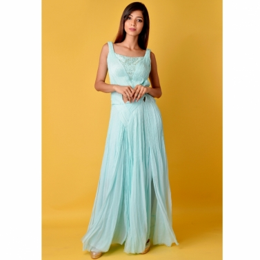 Mint Blue pleated gown with sequin tube attached