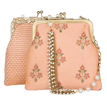 Pastel Peach Floral Kiss-Lock Potli Clutch