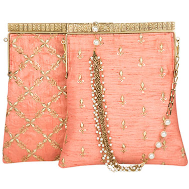 Peach Cross Kiss-Lock Potli Clutch