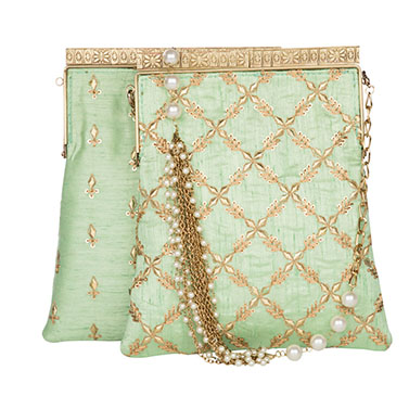 Mint Cross Kiss-Lock Potli Clutch