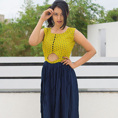 Blue And Mustard Indo Western Gown