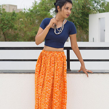Orange Printed Skirt