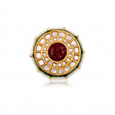 designer-womens-wear/oversized-red-kundan-ring