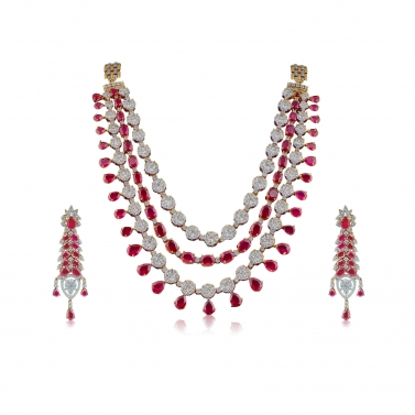 Red ruby and white sapphire necklace set