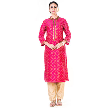 Hand Embroidered Pink & Beige Suit Set