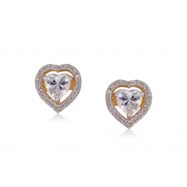 Heart shapped Solitare studs