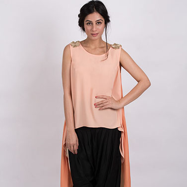 Short Long Top And Overlap Dhoti Pants