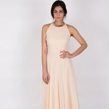 Round Neck Fitted Gown