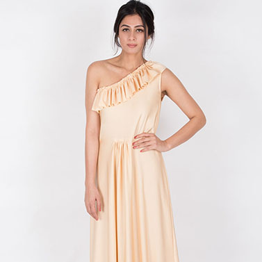 One Shoulder Fitted Gown With Neck Ruffles