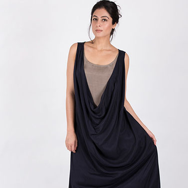 U Neck Flared Cowl Dress